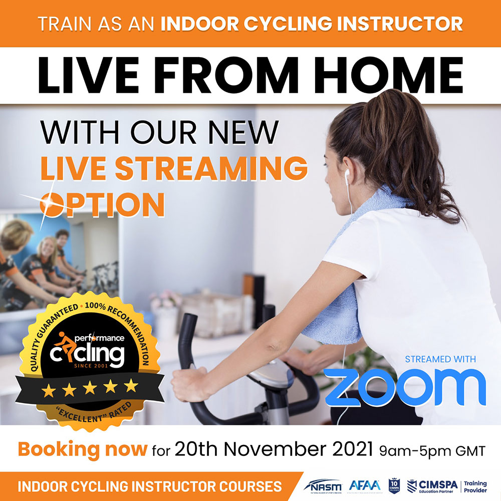 live streaming indoor cycling course, book now
