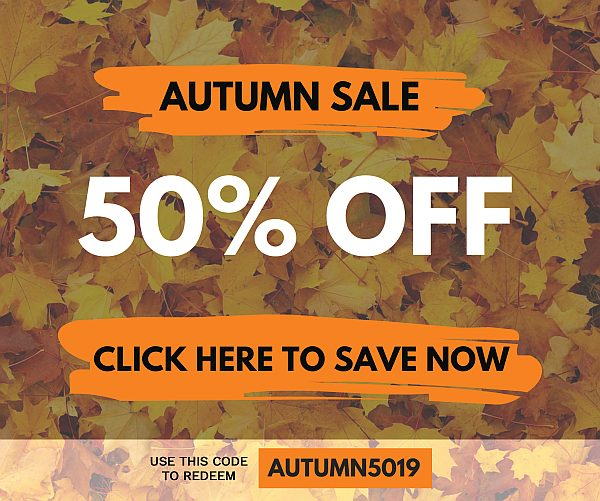 50% OFF NOW - USE THE CODE AUTUMN5019 AT CHECKOUT